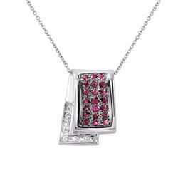 14KT White Gold 0.49ctw Pink Sapphire and Diamond Pendant with Chain