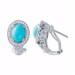 14KT White Gold 2.02ctw Turquoise and Diamond Earrings
