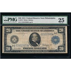 1914 $20 Philadelphia Federal Reserve Note PMG 25