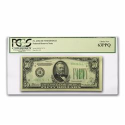1934 $50 Federal Reserve Note PCGS 63PPQ