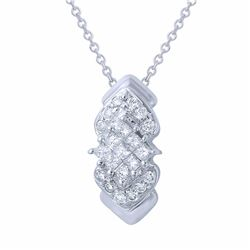 14KT White Gold 0.29ctw Diamond Pendant with Chain
