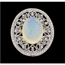14KT White Gold 3.83ct Opal and Diamond Ring