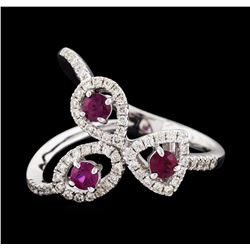 14KT White Gold 0.34ctw Ruby and Diamond Ring
