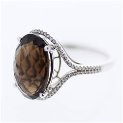 14KT White Gold 6.08ct Smokey Topaz and Diamond Ring