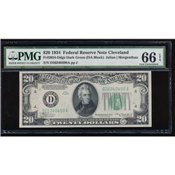 1934 $20 Cleveland Federal Reserve Note PMG 66EPQ