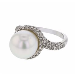 14KT White Gold 10.25ct Pearl and Diamond Ring