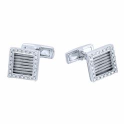 14KT White Gold 0.49ctw Diamond Cuff Links