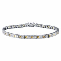 14KT White Gold 2.09ctw Yellow Sapphire and Diamond Bracelet