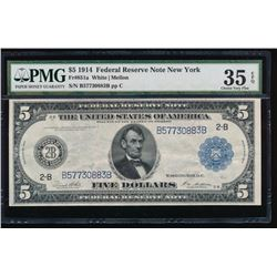 1914 $5 New York Federal Reserve Note PMG 35EPQ