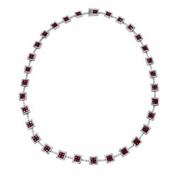 14KT White Gold 14.65ctw Ruby and Diamond Necklace