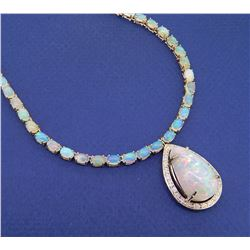 14KT Yellow Gold 33.51ctw Opal and Diamond Necklace