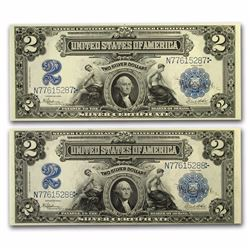 Set of (2) 1899 $2 George Washington Silver Certificate Notes
