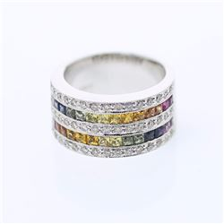 14KT White Gold 1.92ctw Multi Color Sapphire and Diamond Ring