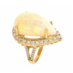 14KT Yellow Gold 18.24ct Opal and Diamond Ring
