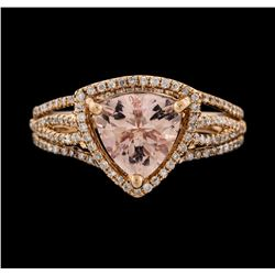 14KT Rose Gold 1.53ct Morganite and Diamond Ring