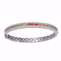 18KT White Gold 2.63ctw Multi Sapphire and Diamond Bracelet