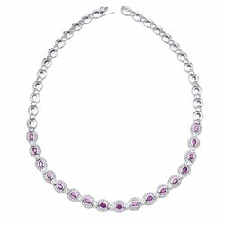 14KT White Gold 4.34ctw Pink Sapphire and Diamond Necklace