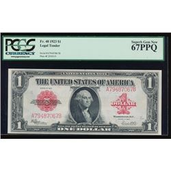 1923 $1 Legal Tender Note PCGS 67PPQ