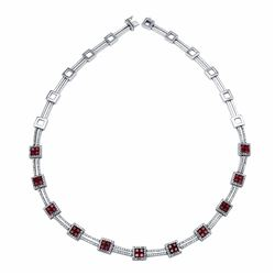 14KT White Gold 2.34ctw Ruby and Diamond Necklace