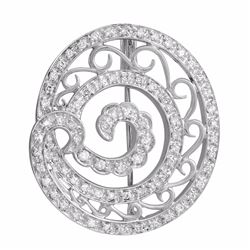 18KT White Gold 0.70ctw Diamond Brooch