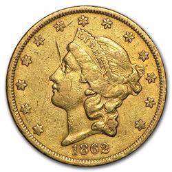 1862-S $20 Liberty Head Double Eagle Gold Coin Cleaned