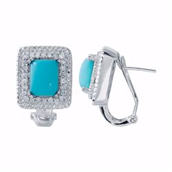 14KT White Gold 4.23ctw Turquoise and Diamond Earrings