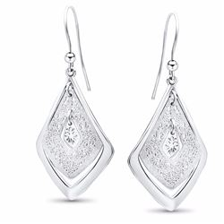 Sterling Silver Polished Scratch-Finish Earrings
