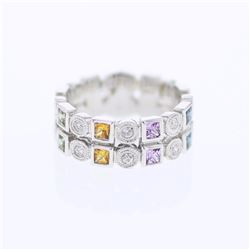 18KT White Gold 0.80ctw Multi Color Sapphire and Diamond Ring