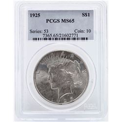 1925 $1 Peace Silver Dollar Coin PCGS MS65