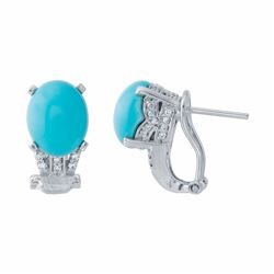 14KT White Gold 3.98ctw Turquoise and Diamond Earrings