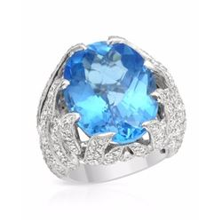 18KT White Gold 22.69ct Blue Topaz and Diamond Ring