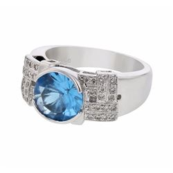 18KT White Gold 2.73ct Blue Topaz and Diamond Ring