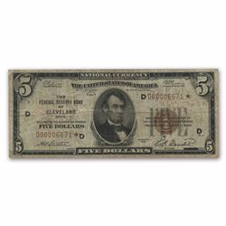 1929 $5 Cleveland Brown Seal Star Note
