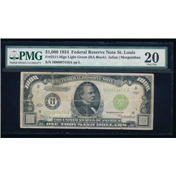 1934 $1000 St. Louis Federal Reserve Note PMG 20