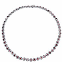 14KT White Gold 7.64ctw Ruby and Diamond Necklace