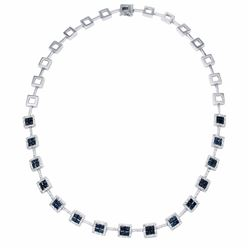 14KT White Gold 7.31ctw Blue Sapphire and Diamond Necklace