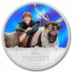 2016 $2 Disney Frozen Kristoff and Sven Niue Silver Coin