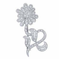 18KT White Gold 0.46ctw Diamond Brooch