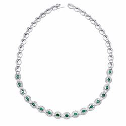 14KT White Gold 2.94ctw Emerald and Diamond Necklace