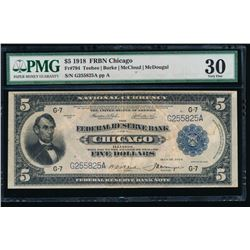 1918 $5 Chicago Federal Reserve Bank Note PMG 30