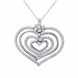14KT White Gold 1.47ctw Diamond Pendant with Chain