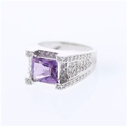 14KT White Gold 2.24ct Amethyst and Diamond Ring
