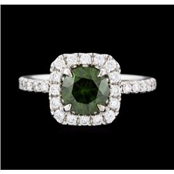 14KT White Gold 1.32ct Fancy Dark Green Diamond Ring