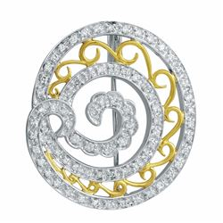 14KT Two Tone Gold 0.66ctw Diamond Brooch