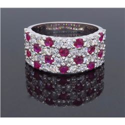 14KT White Gold 1.60ctw Ruby and Diamond Ring