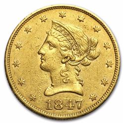 1847 $10 Liberty Head Eagle Gold Coin