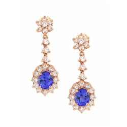 14KT Rose Gold 3.08ctw Tanzanite and Diamond Earrings