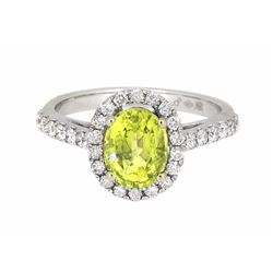 18KT White Gold 1.80ct GIA Cert Chrysoberyl and Diamond Ring