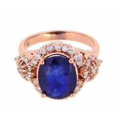 14KT Rose Gold 4.79ctw Blue Sapphire and Diamond Ring