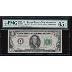 1934 $100 Minneapolis Federal Reserve Note PMG 65EPQ